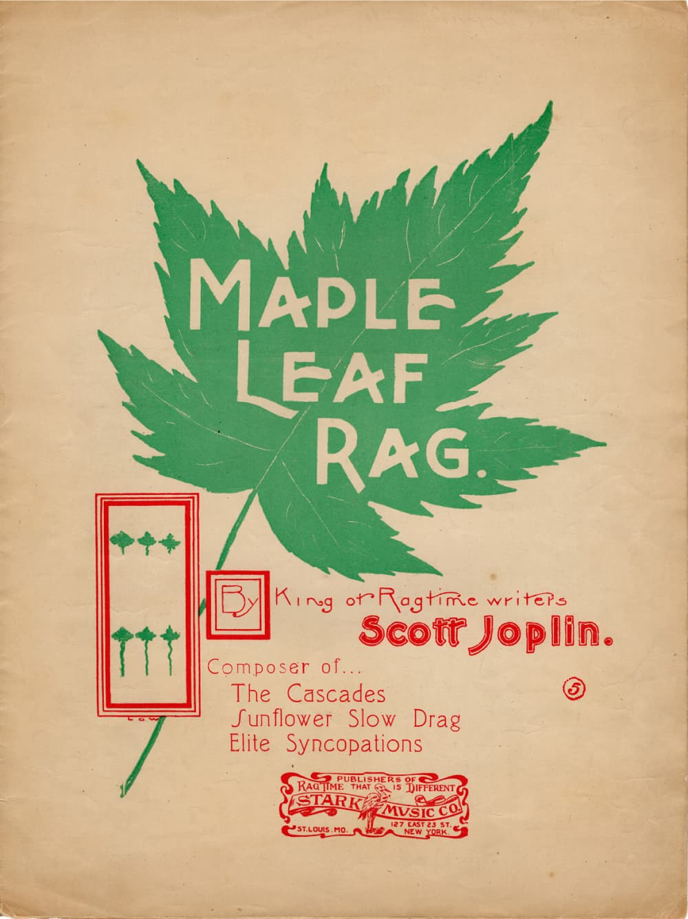 1906 cover of Maple Leaf Rag by Scott Jopin